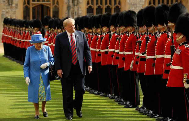 Queen Elizabeth II inspects the Guard of Honour with President of the United States, Donald Trump at Windsor Castle. Photo / Getty Images