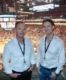 DROPIT founders Brendan and Peter Howell at the Phoenix Suns opening NBA match. Photo / Supplied