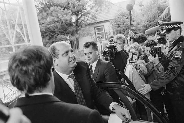 Mike Moore leaving Government House after being sworn in as Prime Minister in 1990. Photo / Alexander Turnbull Library