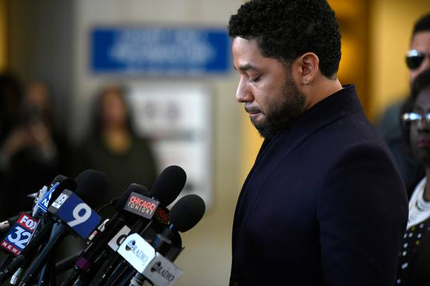 Actor Jussie Smollett talks to the media before leaving Cook County Court after his charges were dropped. Photo / AP