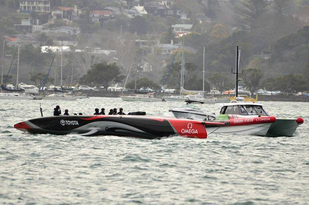 Emirates Team New Zealand take their new AC75 Te Aihe for a tow on the Waitemata Harbour. Photo / Weta27, Sailing Anarchy Forums