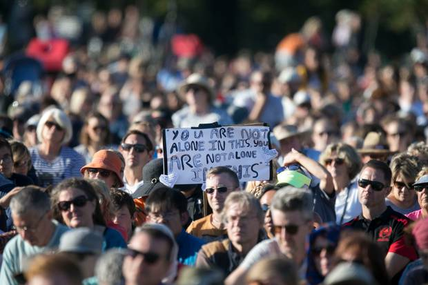 A vigil in Hagley Park, Christchurch, on March 24, 2019, to remember the victims of the terror attacks nine days earlier. Photo / Mike Scott