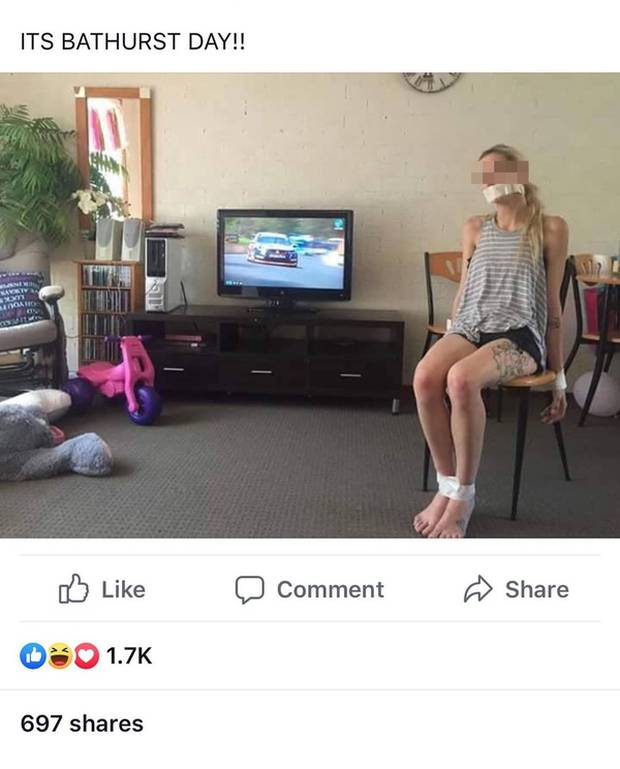 An Australian car fan page shared a photo of a woman sitting on a chair with her legs, hands and mouth strapped up along with the caption