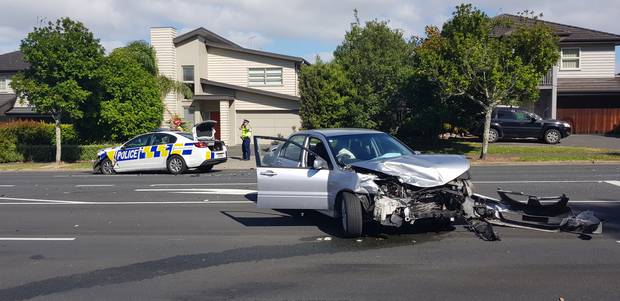 Police car involved in a crash in Auckland suburb of