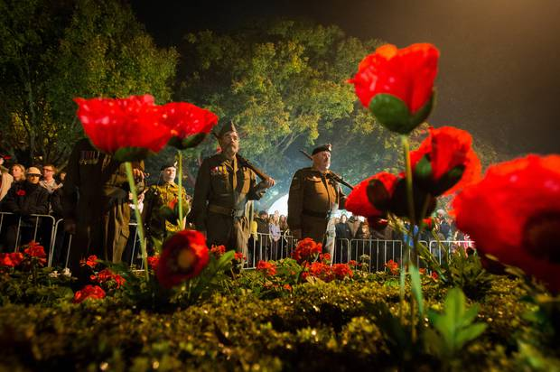Hastings Anzac Dawn Service at the Hastings Cenotaph. Photo / John Cowpland