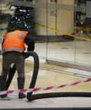 Contractors were called in to clean up a food oil spill at the Atrium on Elliot. PHOTO / Dean Purcell