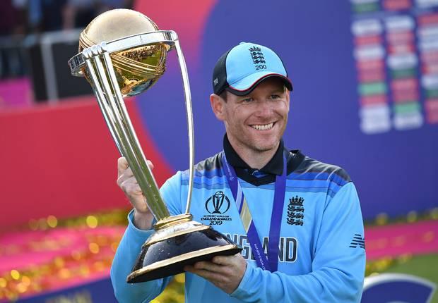 England captain Eoin Morgan with the Cricket World Cup trophy. Photo / Photosport