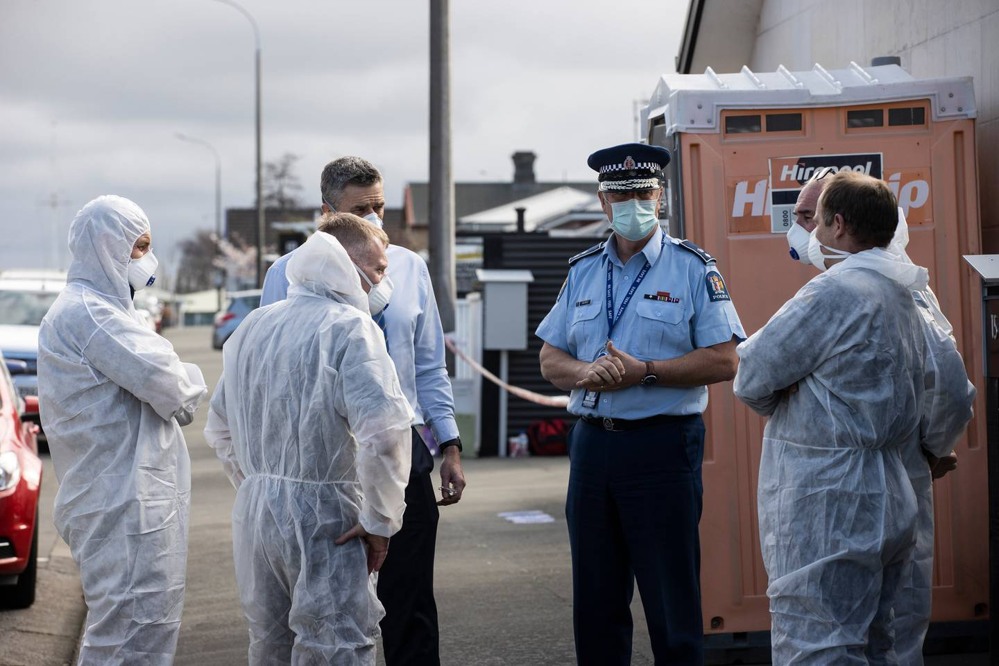 Police today at the scene of where three young girls were found dead in Timaru. Photo / George Heard