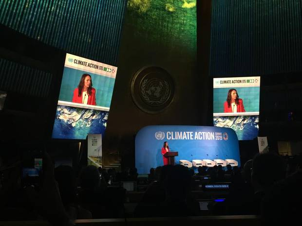 Prime Minister Jacinda Ardern addressing the UN Climate Summit in New York this morning. Photo / PMO
