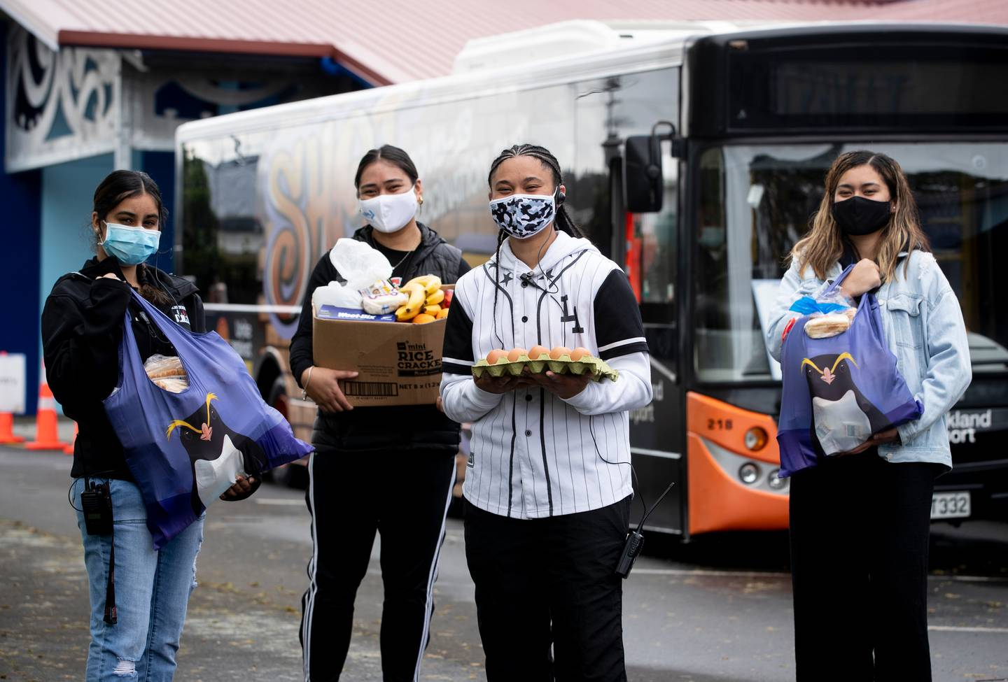 James Cook High School students along with support from Manurewa Marae have set up a Covid-19 vaccination centre. They are also giving out food parcels for their local community. Photo / Dean Purchell