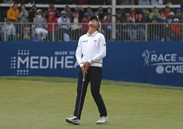 Lydia Ko of New Zealand reacts after making an eagle to win the Mediheal Championship at Lake Merced Golf Club on April 29, 2018 in Daly City, California. Photo / Getty Images.
