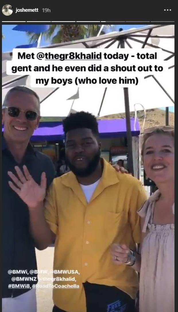 Josh Emett, Khalid and Helen (Emett's wife). Photo / Instagram