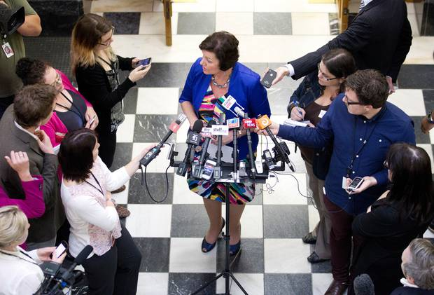 Anne Tolley as Police Minister during a press conference in 2013.