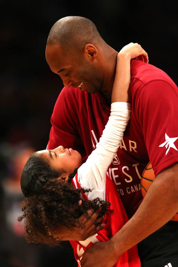 Kobe Bryant and daughter Gianna during the NBA All-Star Game 2016. Photo / Getty