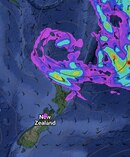 The second large sub-tropical low in a week is moving towards New Zealand but it will have trouble muscling in on high that's happily settled over most areas. Image/weatherwatch.co.nz