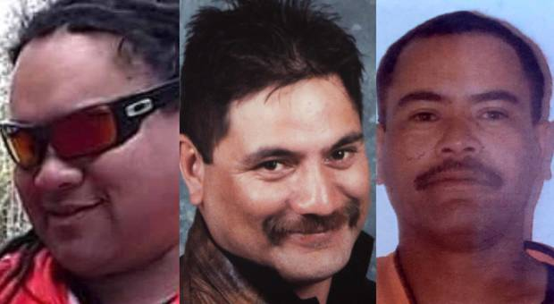 The three men who were killed when hit by a truck while working on the road at State Highway 2 near Matata, Haki Graham Hiha, David Eparaima and Soul Raroa. Photo / Supplied