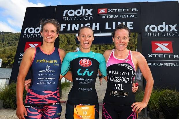 Jacqui Allen (centre), pictured with second-placed Penny Slater (left) and third-placed Samantha Kingsford, won her fourth Xterra Rotourua title on Saturday. Photo / Supplied