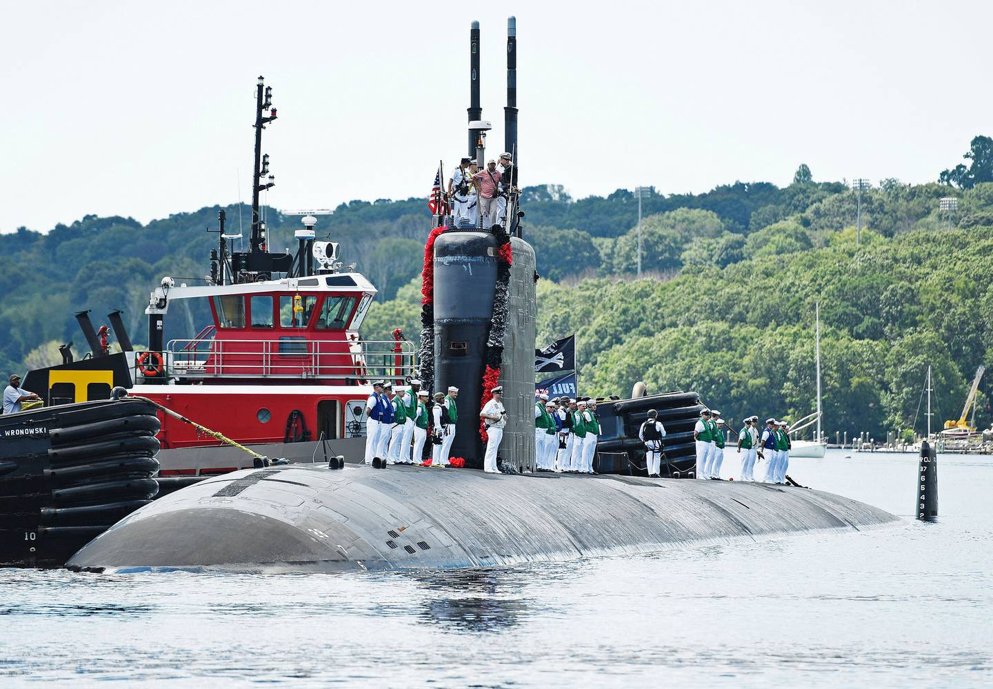 The US Navy attack submarine USS San Juan (SSN 751) returns to a base in Groton, Connecticut after a nearly eight-month deployment. Photo / Sean D. Elliot, The Day via AP