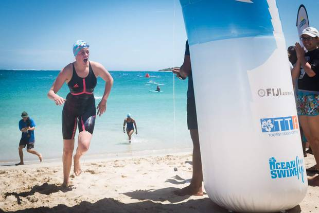 Emily Spear sprints to the finish line in Fiji. Photo / Supplied