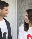 Clarke Gayford and Prime Minister Jacinda Ardern announce their pregnancy with their first child to media which is due in June. Photo / Greg Bowker