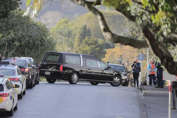 Constable Matthew Hunt's casket escorted by a motorcade. Photo / Michael Craig
