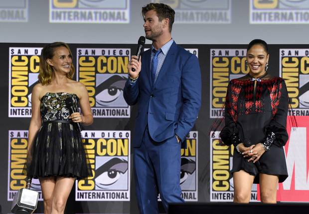 Natalie Portman, Chris Hemsworth and Tessa Thompson are all returning for the fourth Thor. Photo / AP