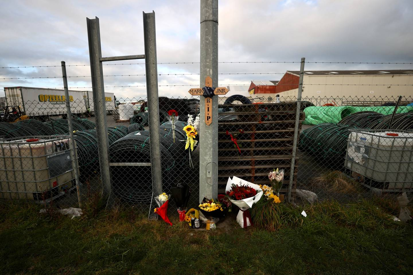 Tributes at the scene of the double fatal crash in Christchurch on Saturday night. Photo / George Heard