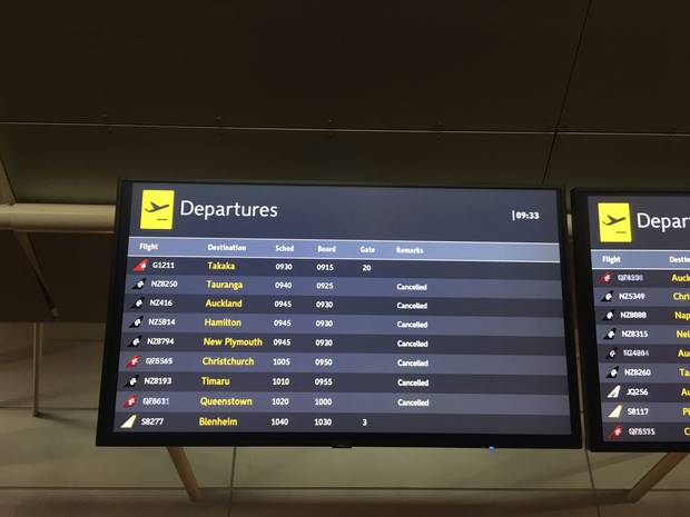 Cancelled flights at Wellington Airport. Photo / Emme McKay