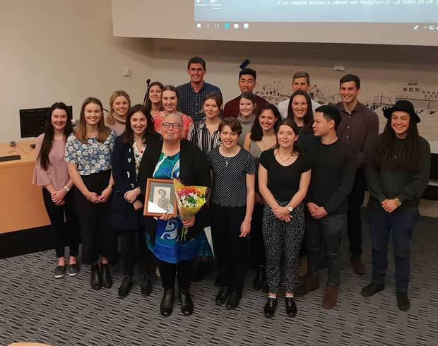 Report authors fourth-year University of Otago medical students, ActionStation director Laura O'Connell-Rapira (far right) and Dr Keri Lawson-Te Aho (centre front). Photo / Supplied