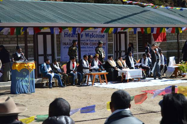 The official opening of the five new post-earthquake classrooms funded by the Himalayan Trust at Khumjung Secondary School in Nepal. Photo / Himalayan Trust