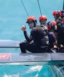 Peter Burling gives a thumb's up for Team NZ after their win off Bermuda. Photo / America's Cup