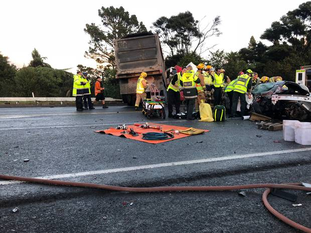 Emergency services worked for more than an hour to free the woman from the car. Photo / Supplied
