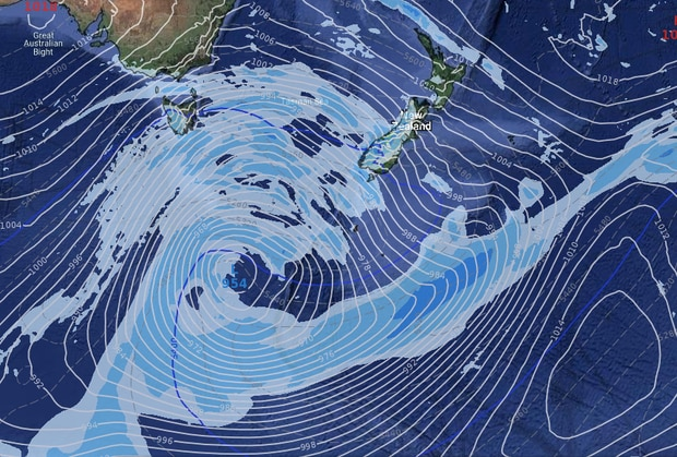 A huge area of low pressure will develop next week in the Southern Ocean, creating a large storm. Photo / WeatherWatch
