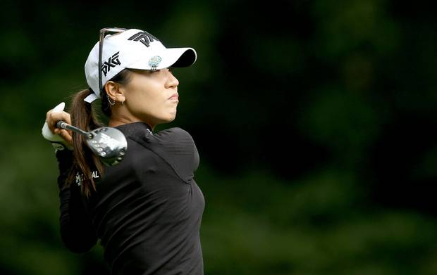 Lydia Ko plays off the 7th tee on day two of the Women's British Open. Photo / AP
