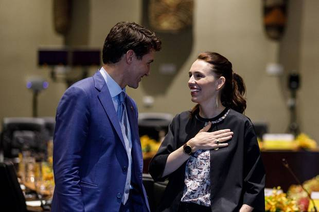 Canadian PM Justin Trudeau speaks with New Zealand PM Jacinda Ardern during the APEC Summit, 2018. Photo / Supplied
