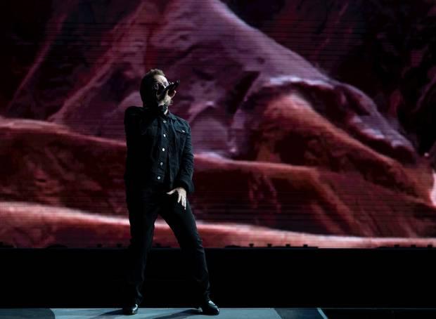 U2 band member Bono performs as part of the Joshua Tree Tour. Photo / Greg Bowker Visuals