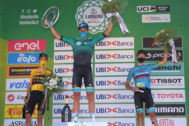 George Bennett (left) finished second at Il Lombardia. Photo / Getty