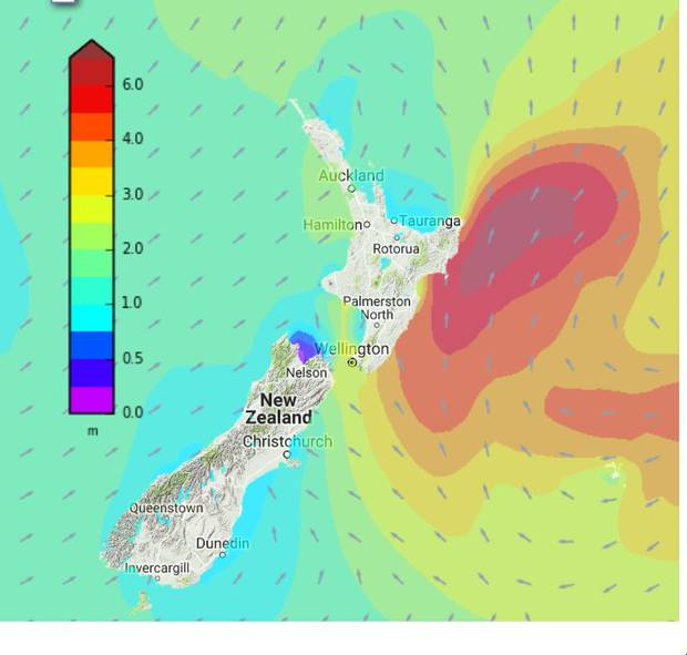 Towering 5m swells are expected to pummel eastern regions over the next 24 hours. Image / MetService