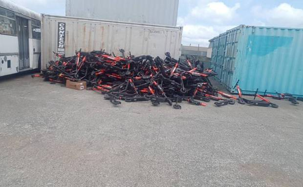 Jump scooters dumped in Wellington. Photo / RNZ