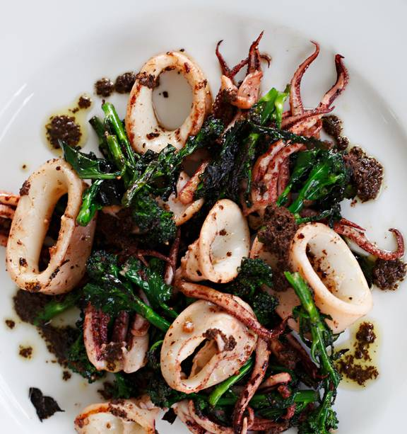 Seared Squid With Sprouting Broccoli And Black Olive Tapenade Nz Herald