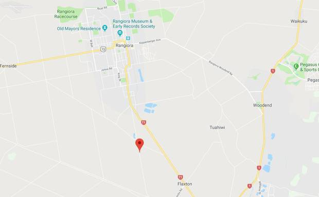 The accident happened on Flaxton Rd, Rangiora, about 7.50am. Image / Google Maps