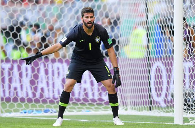 People online couldn't help but comment on Brazilian goalkeeper Alisson Becker during the World Cup game against Mexico. Photo / Getty Images