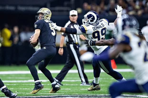 Rams defensive tackle Aaron Donald will be rushing Saints quarterback Drew Brees at every opportunity. Photo / Getty Images