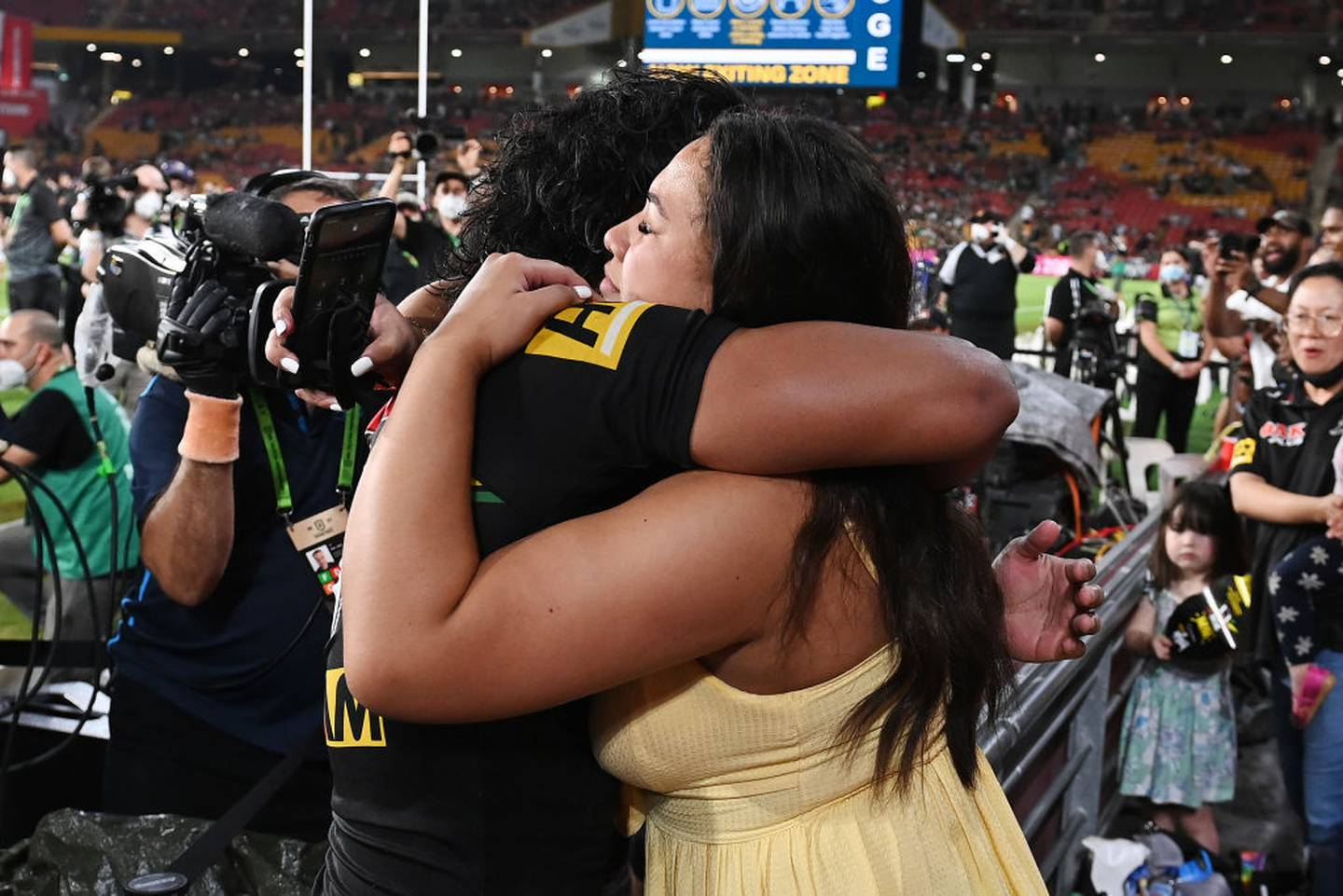 Brian To'o of the Panthers proposes to his partner Moesha Fuifui after winning the 2021 NRL Grand Final. Photo / Getty