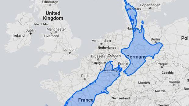 The map shows how big New Zealand really is. Photo / Twitter