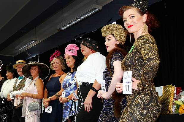 Fashion in the Field contestants (right) put on the sparkle in the lead-up to the Dazzle Ball on January 19 at Vintage Weekend. Whanganui Chronicle photograph by Bevan Conley