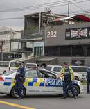 Police corden off Marua Road in Ellerslie as they raid the Headhunters Motorcycle Club clubrooms. Photo / NZ Herald