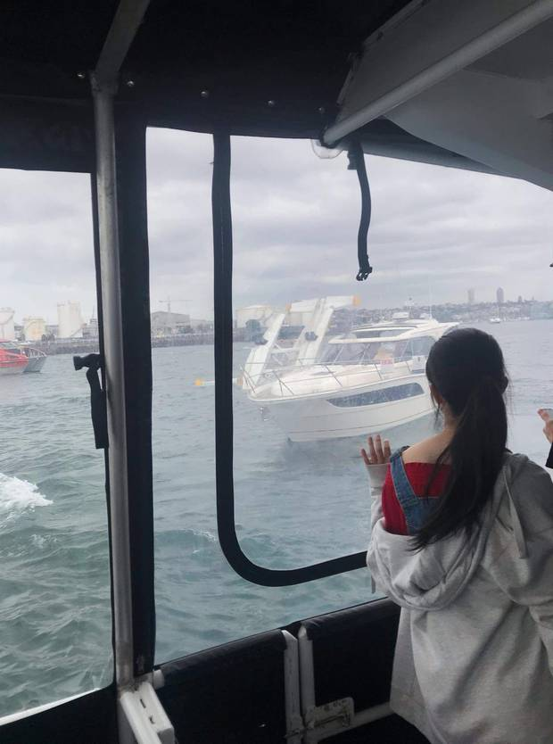 Sealink ferry is assisting after the seaplane flipped. Photo / Supplied