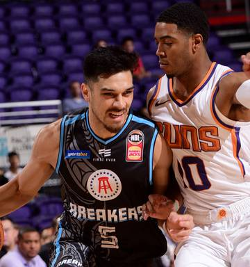 ... The Barstool Sports logo featured on the front on the New Zealand  Breakers singlet in their 3db75ee8a