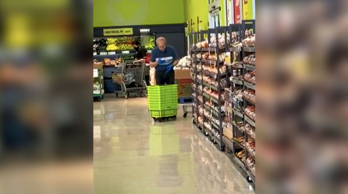 Supermarket worker caught using spit to clean baskets